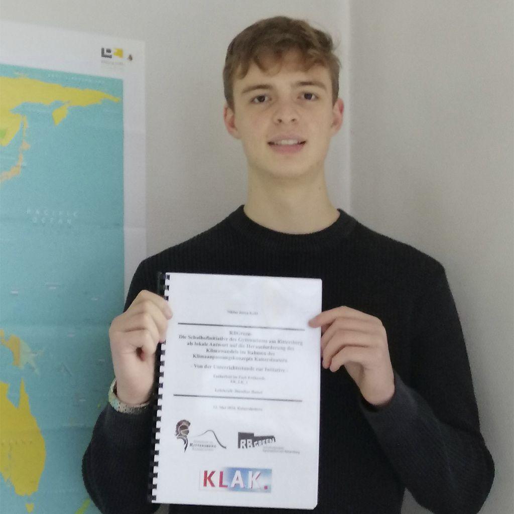 RBGreen: Niklas Kohl belegt ersten Platz bei landesweitem Facharbeitswettbewerb